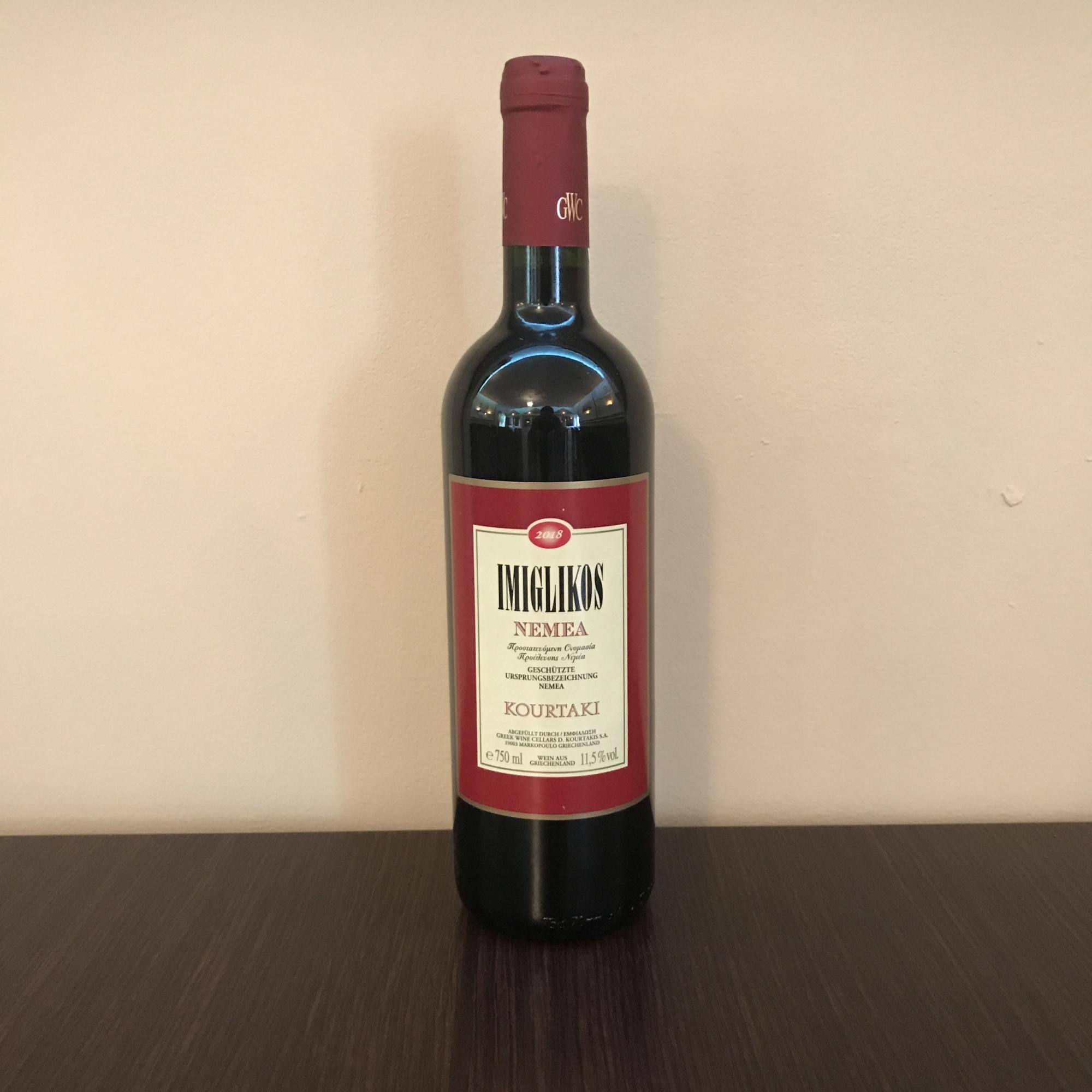 Grieche-Wedel-Taverna-Plaka-Wein-Imiglikos-Nemea-Vorderseite